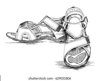 Men's Sandal Footwear Handmade Vector Illustration