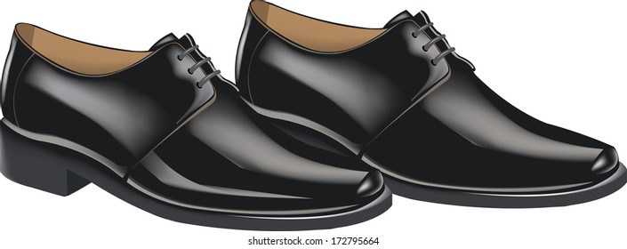 men's shiny black shoes for the ceremony,