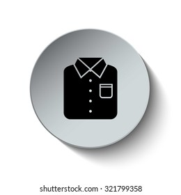 Men's shirt icon. Cloth icon. Rounded button. Vector Illustration. EPS10