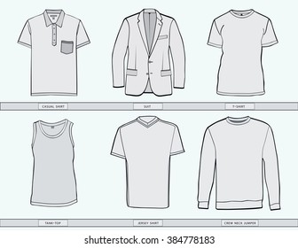 Men's shirt ,suit, jumper, tank top and jersey clothing templates .