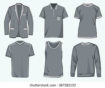 Men's shirt, suit, jumper, tank top and jersey, clothing templates .