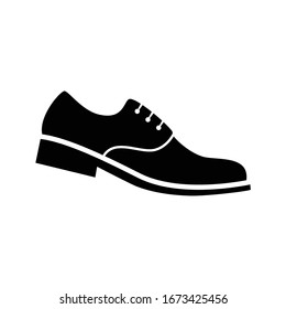 men's shoe black silhouette isolated on white