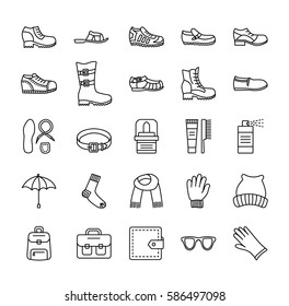 Men's shoes & accessories. Vector line icon set. Various styles of footwear. Boots, sneakers, sandals, slippers. Bag, glove, sunglasses, umbrella, hat, scarf, sock. Shoe care products
