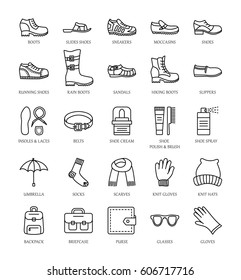Men's shoes and accessories. Vector line icon set. Various styles of footwear. Boots, sneakers, sandals, slippers. Bag, glove, sunglasses, umbrella, hat, scarf, sock. Shoe care products