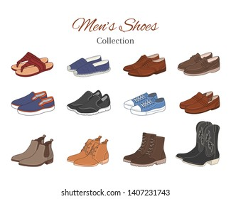 Men's shoes collection. Various types of male shoes casual boots, sneakers, formal shoes, vector sketch illustration, isolated on white background.