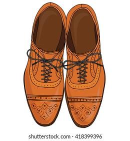 Men's shoes , fashion illustration, vector hand draw