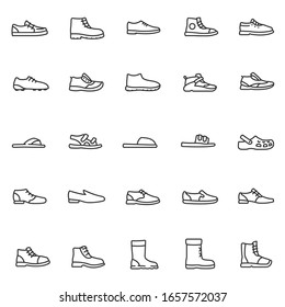 Men's shoes, icon set. Casual and special footwear, for different seasons linear icons. Line with editable stroke