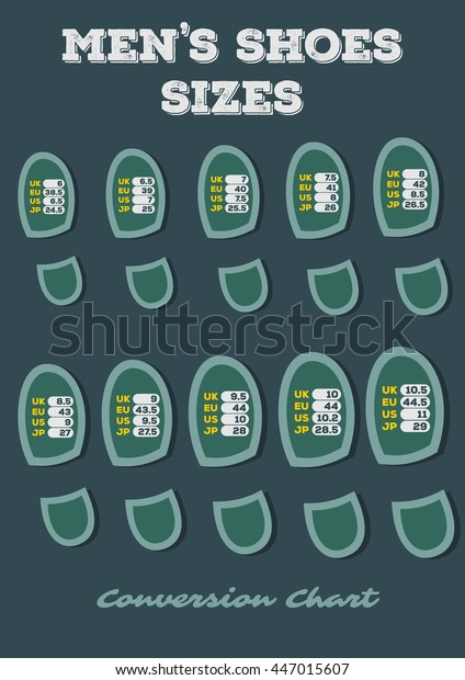 Mens Shoe Size 44 Conversion.Mens Shoes Size Conversion Chart Stock Vector Royalty Free