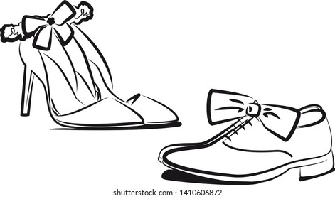 Men's shoes and women's pumps with a garter on the wedding day.