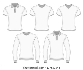 Men's short and long sleeve polo shirt and t-shirt design templates (front view). Vector illustration. No mesh. Redact color very easy. Ribbed collar, cuffs and waistband.