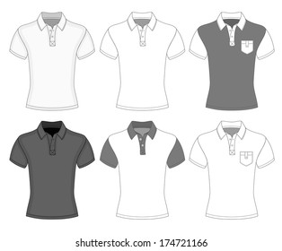 Men's short sleeve polo shirt design templates (front view). Vector illustration. No mesh. Redact color very easy.