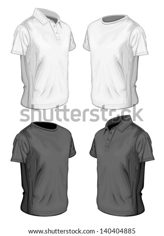 5e53ff42 Men's short sleeve polo-shirt and t-shirt design templates (half-turned  views). Vector illustration. No mesh, spot colors only - Vector