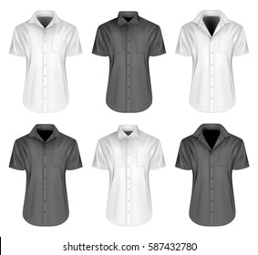 Men's short sleeve shirts with different collar. Black and white variants of shirt. Vector illustration.