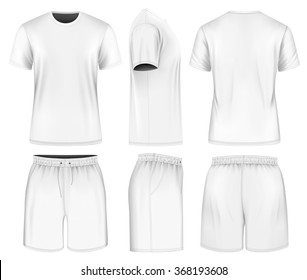 Men's short sleeve t-shirt and sport shorts (front, side and back views). Vector illustration. Fully editable handmade mesh.