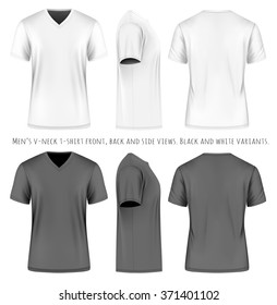 Men's short sleeve v-neck t-shirt . Front, side and back views. Vector illustration. Fully editable handmade mesh. Black and white variants.