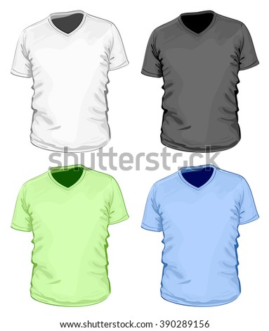 529a5dddb1a Mens Short Sleeve Vneck Tshirt Vector Stock Vector (Royalty Free ...