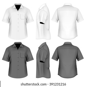 Men's short sleeved formal button down shirt . Fully editable handmade mesh, vector illustration.