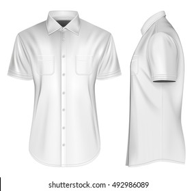 Men's short sleeved formal button down shirts front and side views. Fully editable handmade mesh, Vector illustration.