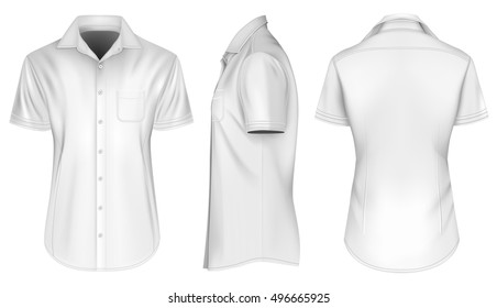 Men's short sleeved formal button down shirts, open collar. Front, side and back views of shirt. Fully editable handmade mesh. Vector illustration.