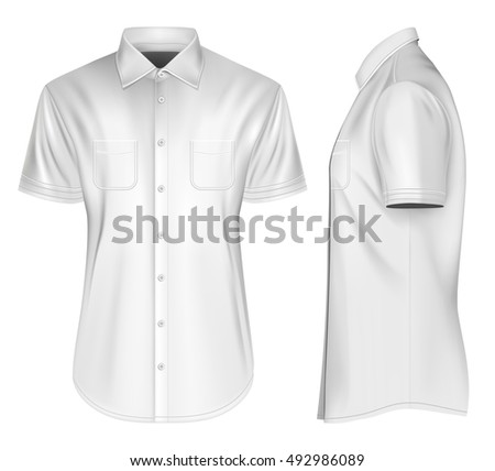 6e04d1d0a52375 Men s short sleeved formal button down shirts front and side views. Fully  editable handmade mesh