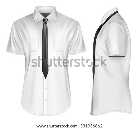 15c05496789e0d Men s short sleeved formal button down shirts front and side views with  neckties. Fully editable handmade mesh