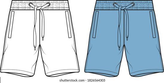 men's shorts illustration. Fashion flat sketch, vector