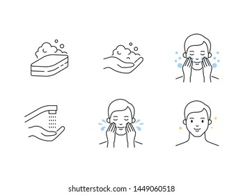Men's skin care cleansing outline vector icons