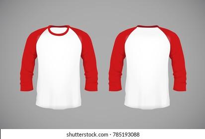 Men's slim-fitting long sleeve baseball shirt. Red Mock-up design template for branding.