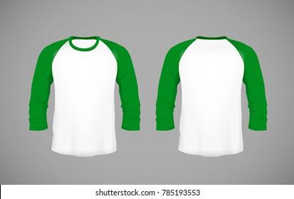 Men's slim-fitting long sleeve baseball shirt. Green Mock-up design template for branding.