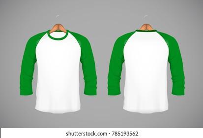 Men's slim-fitting long sleeve baseball shirt with wood hanger. Green Mock-up design template for branding.