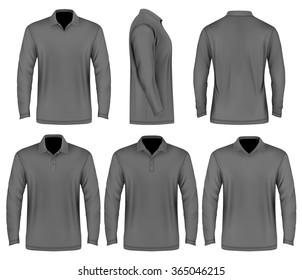 Men's slim-fitting polo shirt (front, back and side  views). Polo-collars variants. Vector illustration. Fully editable handmade mesh.