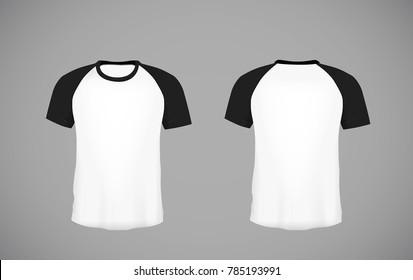 Men's slim-fitting short sleeve baseball shirt. Black Mock-up design template for branding.