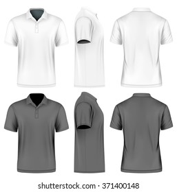 Men's slim-fitting short sleeve polo shirt. Front, back and side views. White and black variants. Vector illustration. Fully editable handmade mesh.