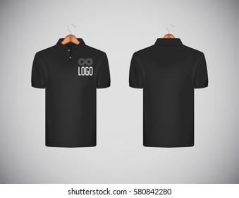 Men's slim-fitting short sleeve polo shirt with logo for advertising. Black polo shirt in wooden hanger mock-up design template for branding.