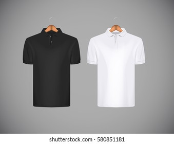 Men's slim-fitting short sleeve polo shirt. Black and white polo shirt with wooden hanger isolated mock-up design template for branding.