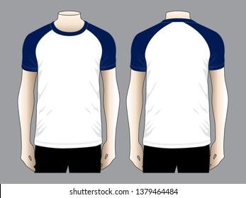 Men's Slope Shoulder T-shirt  (White / Navy Blue)