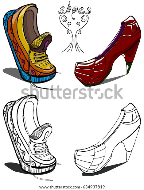 Men's sneakers and women's shoes in painted and black and white style.