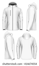 Men's softshell jacket with hood (front view, back and side views). Fully editable handmade mesh. Vector illustration.