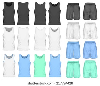 Men's sport shorts and singlet (front and back views). Vector illustration. Spot colors only.