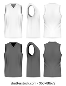 Men's sport training sleeveless t-shirt (front, side and back views). Vector illustration. Fully editable handmade mesh.
