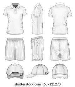 Men's sport wear. T-shirt, shorts and baseball caps. Vector illustration