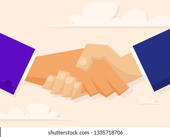 Men's strong handshake. Friendly concept. Vector illustration in flat style