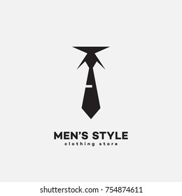 Men's style logo template design with a a tie. Vector illustration.