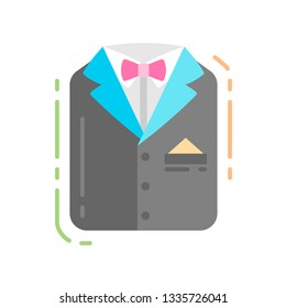 Men's suit flat color icon. Groom's outfit. concept. Wedding boutique. Sign for web page, mobile app, banner, social media. Pictogram UI/UX and GUI user interface. Vector clipart, illustration.