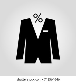 Mens suit with percent discount isolated flat vector icon
