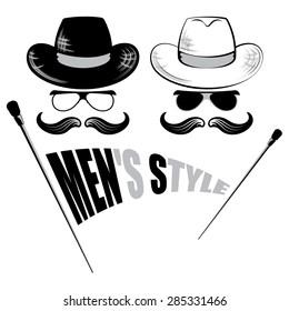 mens sunglasses, hat and cane, retro background ,vector illustration
