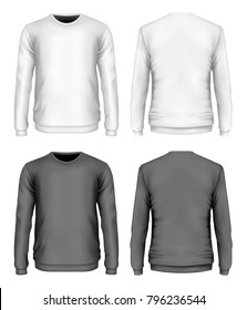 Men's sweater black and white variants. Front and back views. Vector illustration.