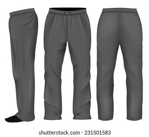 Men's sweatpants black. Vector illustration.