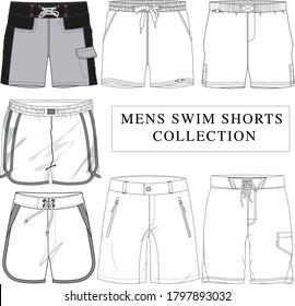 mens swim shorts vector illustration