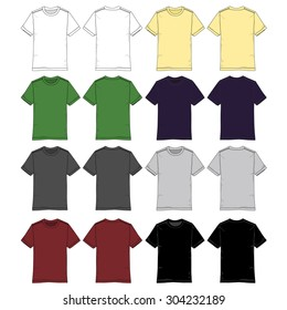 Mens tee drawings in various colors.